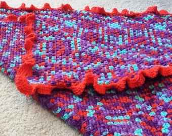 Coral, purple, teal baby blanket