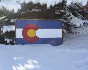 Handmade Wooden Colorado Flag Sign - BIG