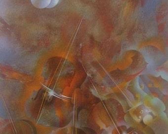 "Leonardo Nierman ""Moonlight""  Original Lithograph S/N Art"
