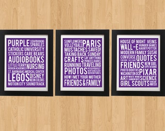 3 - 8 x 10 Custom Favorite Things Poster Art
