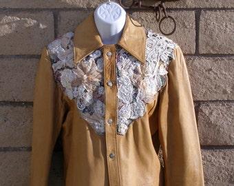 Beautifully Embelilshed Ladies Western Style Leather Jacket - Small