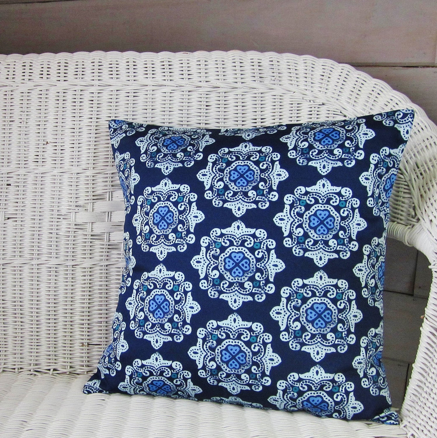 Sale Navy Blue Throw Pillow Cover Geometric by TheDecorativePillow