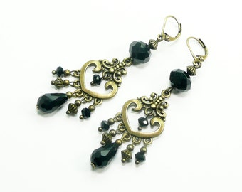 Black victorian earrings, bronze jewelry, black crystal beaded earrings, antique bronze earrings