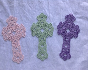 Delicate Lace Cross Bookmark, you choose color