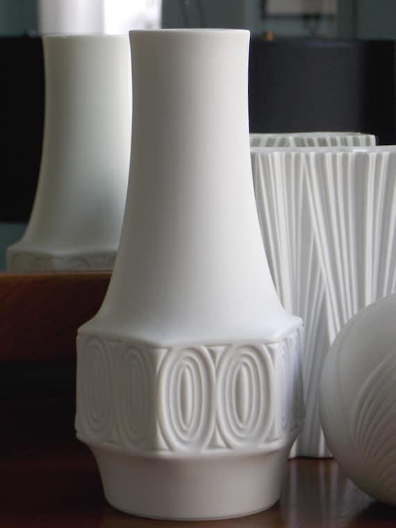 Mid Century Modern White Vase West German Porcelain Matte Op