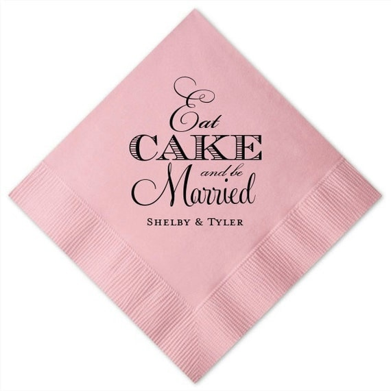 Personalized Eat Cake Cake Table Napkins Set Of By GraciousBridal