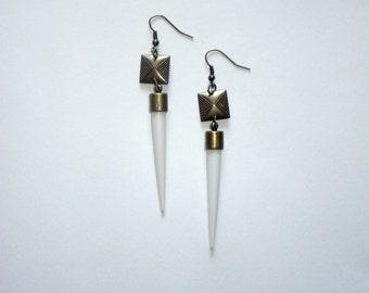 Brass & Spike Dangle Earrings