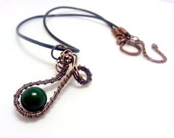 Copper green pendant with jade. Wirewrapped pendant. Copper pendant.