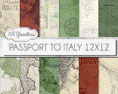 "Vintage Maps digital papers, ""PASSPORT TO ITALY 12x12"" Italian, Italy, travel, red, green, cream, sepia, vintage map, passport, postage"