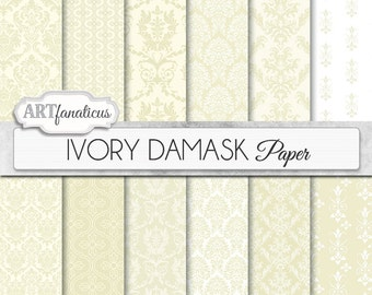 "Damask digital papers ""IVORY DAMASK"" elegant ivory, cream and white, damask for weddings, scrapbooking, invites, cards, home décor and more"