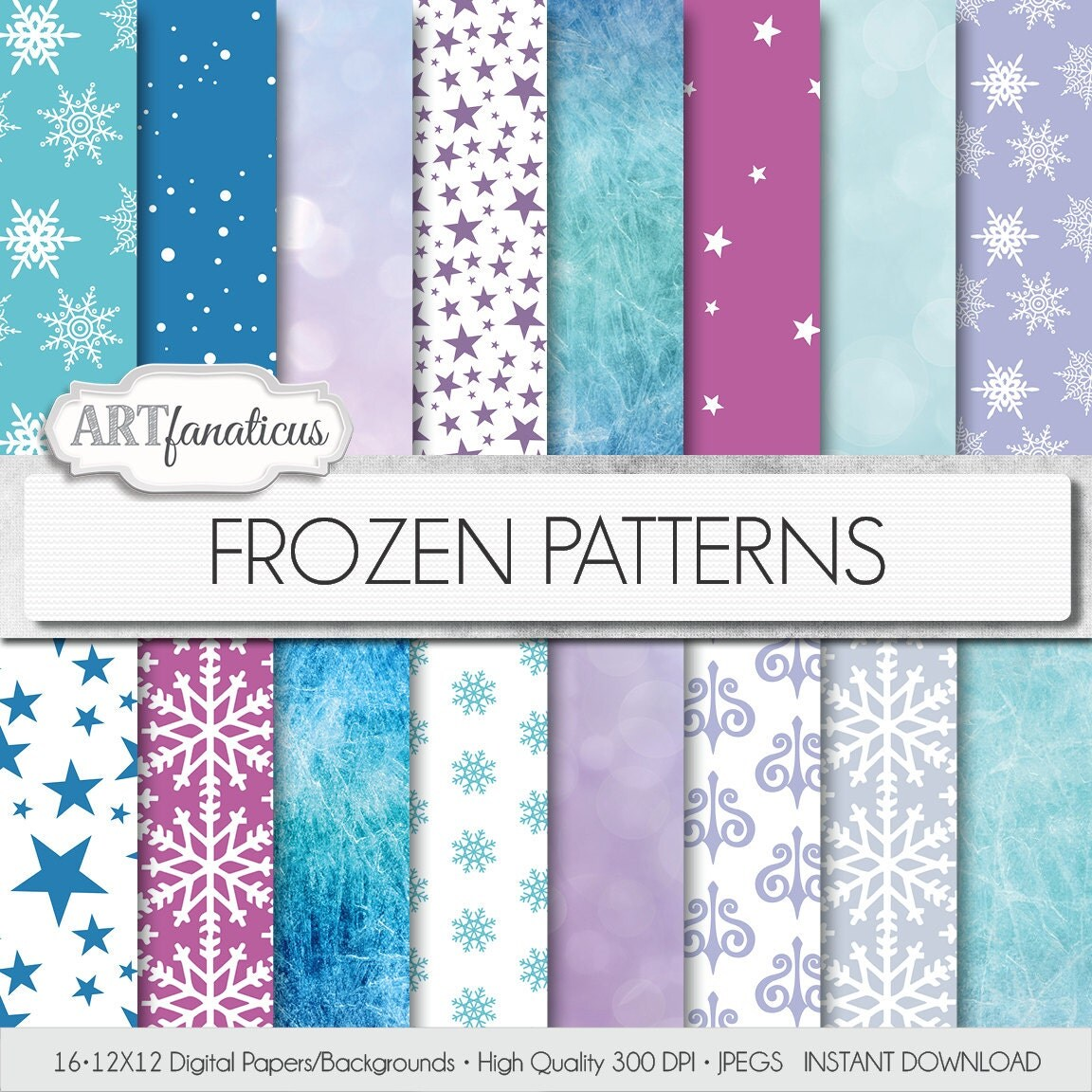 Frozen digital papers Frozen Patterns palette