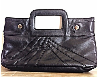 Vintage purse / black vegan purse / Faux leather black handbag