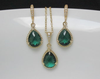 gold emerald bridal set , emerald bridesmaids earrings , gold fill emerald necklace , cz emerald gold earrings , green drop earrings