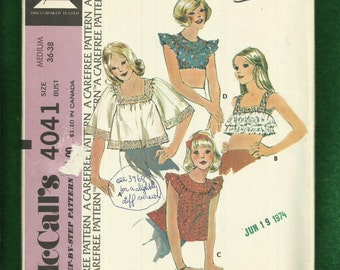 1974 McCalls 4041 Daisy Mae Country Crop Tops with Ruffled Shoulders Size 14/16 Medium UNCUT