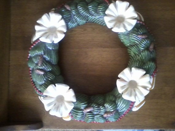 """Atlantic Mold Pine Green Wreath with Pine Cones Beaded (4) Ribbon Candle holder 16"""" Diameter & 8.5 """" Center- 4"""" dept"""