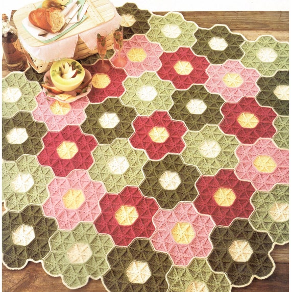 Vintage Granny Square Hexagon Afghan Crochet Pattern PDF Instant Digital Download