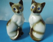 Sapphire Blue Jeweled Eyed Siamese Cats Salt & Pepper Shakers- Vintage Japan