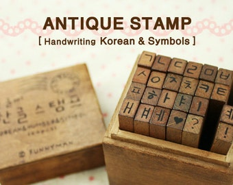 24 pcs handwriting the Korean alphabet Hangeul and Symbol Stamp sets antique rubber wood stick stamps with wood box set funnyman