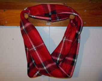 """Infinity Scarf.  Flannel red and black plaid  infinity scarf.  Approx 5"""" x 72"""".  Great light weight scarf to add color  to your outfit."""