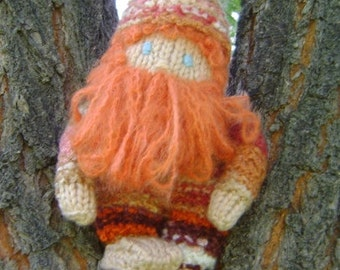 Handknit, red-bearded, adorable gnome doll