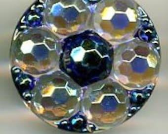 art czech glass button iridescent clear and blue disco balls - size 12, 27mm FCB H192