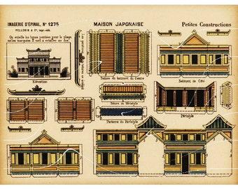 Original Antique Architectural Print Petites Constructions Maison Japonaise
