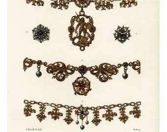 Original Antique Print -  Jewelery - Neckles  ancient times 1858