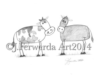 Pencil Drawing Print - Stick Cows - Day 188