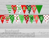 Merry Christmas Party Banner, Polka Dot, Striped, DIY holiday pennant, red, green, printable bunting banner, ready to print, download