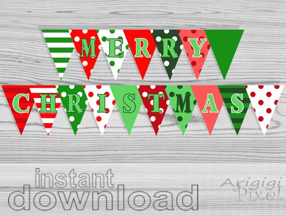 Merry Christmas Party Banner Polka Dot Striped DIY holiday