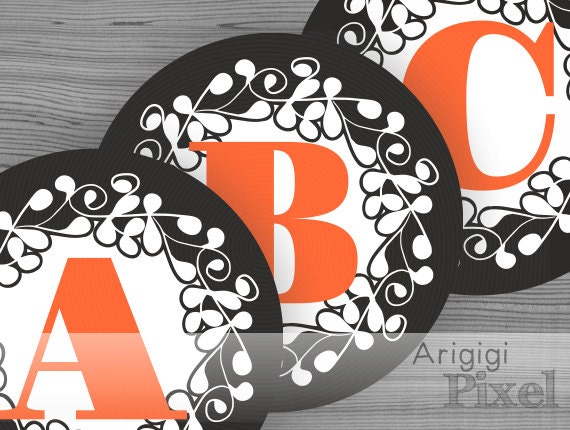individual letters for Halloween banner - black and orange - ornate circle 6.8'' - printable PDF file
