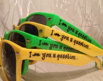 I mustache you a question Will you be my bridesmaid/maid of honor/best man/groomsman sunglasses