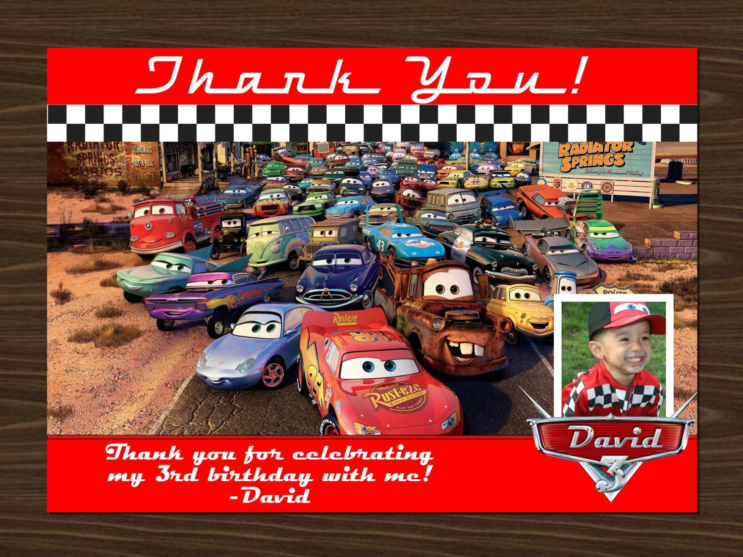 mcqueen invitation disney s cars thank you card photo and personalized logo 5x7 mcqueen and all cars thank you card picture digital printable file