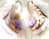 Shoes Clips, lilac beige flowers, Silk Flower , Handwork , Accessories for women , Shoe Accessories
