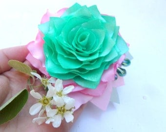 Brooch Pink and mint Rose Flower accessories Clip for hair Wedding Pink and green  Silk rose  Accessories for women