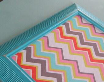 Turquoise Framed Chevron Pin Board Bulletin Board Fabric Cork Board Home Organizer Girls Room Office Pin Board