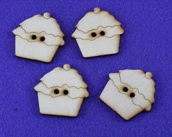 4 buttons, wood, muffin, 4 x 4 cm (15-0010B)