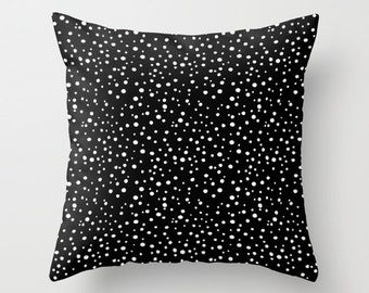 Polka Dot Pillow Cover, Black and White Pillow Cover, Polkadot Throw Pillow Case, Polka Dot Decor, Black White Pillow, White Polka Dot