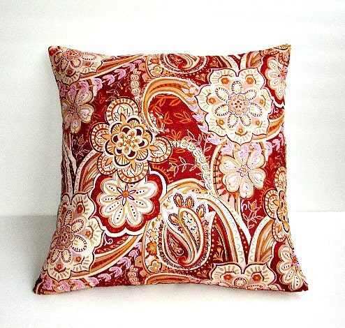 Decorative Pillows For Fall : Fall 18x18 Decorative Pillow Cover In A Floral Paisley Print