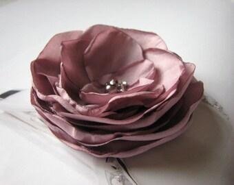 Mauve hair flower Pale purple hair flower Wedding purple accessories Pale purple hair clips Bridesmaids mauve hair flower Mauvel hair clips