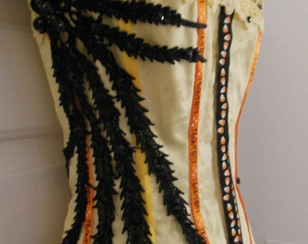 SOLD!!!  Handmade Custom Witch Costume Candy Corn Theme Size S/M 32-34