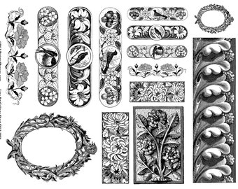 Line Art Illustrations Collage Sheet for Mixed Media, Steampunk Vintage Digital Art in both JPEG and PNG files, CS13-195k