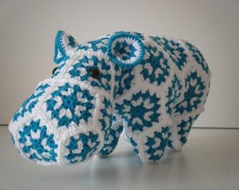 Crochet hippopotamus made out of Granny Squares - Grannies - Happypotamus