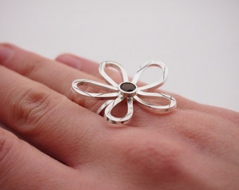 Silver daisy ring, Silver tourmaline ring, large silver ring, handmade contemporary ring