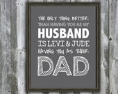 Personalized DAD, Daddy, Husband, Father's Day Quote - Wall Art - Customizable- Fathers Day Gift-  Children's Names- The Only Thing Better