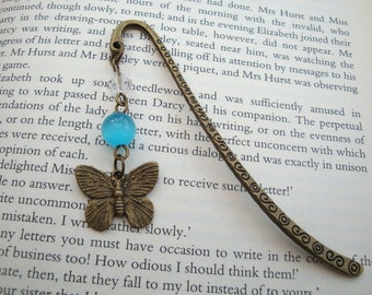 Beaded bookmark butterfly charm in antique bronze turquoise beads vintage style