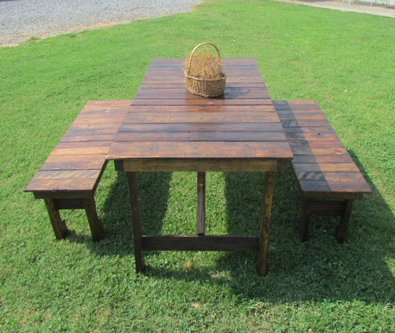 Picnic Table Set : Wood Table & Bench Set, Picnic Table, Kitchen Table, Outdoor Table ...