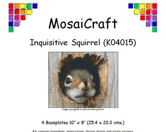 MosaiCraft Pixel Craft Mosaic Art Kit Inquisitive Squirrel (Like Mini Mosaic and Paint by Numbers)