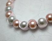 Glass pearl beaded ribbon necklace. Light grey and pink beads and pink ribbon. Decorative metal spacers. Ships free.