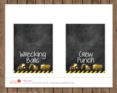 Construction Tent Cards - Chalkboard - PRINTABLE - Custom Food Labels - Boy Birthday - Digital - Up to 8 items